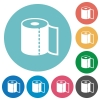 Paper towel flat round icons - Paper towel flat white icons on round color backgrounds