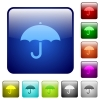 Umbrella color square buttons - Umbrella icons in rounded square color glossy button set