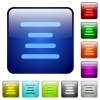 Text align center icons in rounded square color glossy button set - Text align center color square buttons