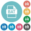 BAT file format flat round icons - BAT file format flat white icons on round color backgrounds