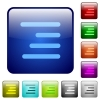 Text align right icons in rounded square color glossy button set - Text align right color square buttons