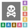Skull with bones square flat icons - Skull with bones flat icons on simple color square backgrounds