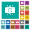 Hardware diagnostics square flat multi colored icons - Hardware diagnostics multi colored flat icons on plain square backgrounds. Included white and darker icon variations for hover or active effects.