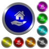 Home insurance luminous coin-like round color buttons - Home insurance icons on round luminous coin-like color steel buttons