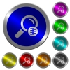 Search in compressed files luminous coin-like round color buttons - Search in compressed files icons on round luminous coin-like color steel buttons