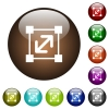 Resize element color glass buttons - Resize element white icons on round color glass buttons