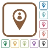 Member GPS map location simple icons - Member GPS map location simple icons in color rounded square frames on white background