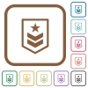 Military rank simple icons - Military rank simple icons in color rounded square frames on white background