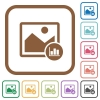 Image histogram simple icons - Image histogram simple icons in color rounded square frames on white background