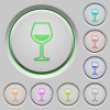 Glass of wine push buttons - Glass of wine color icons on sunk push buttons