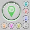 Bank ATM GPS map location push buttons - Bank ATM GPS map location color icons on sunk push buttons