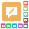 writing comment rounded square flat icons - writing comment flat icons on rounded square vivid color backgrounds.