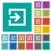 Import with inside arrow square flat multi colored icons - Import with inside arrow multi colored flat icons on plain square backgrounds. Included white and darker icon variations for hover or active effects.