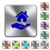 Home insurance rounded square steel buttons - Home insurance engraved icons on rounded square glossy steel buttons