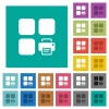 Print component square flat multi colored icons - Print component multi colored flat icons on plain square backgrounds. Included white and darker icon variations for hover or active effects.