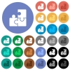 Puzzles round flat multi colored icons - Puzzles multi colored flat icons on round backgrounds. Included white, light and dark icon variations for hover and active status effects, and bonus shades on black backgounds.