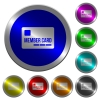 Member card luminous coin-like round color buttons - Member card icons on round luminous coin-like color steel buttons