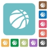 Basketball rounded square flat icons - Basketball white flat icons on color rounded square backgrounds