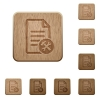Document tools on rounded square carved wooden button styles - Document tools wooden buttons