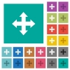 Move tool square flat multi colored icons - Move tool multi colored flat icons on plain square backgrounds. Included white and darker icon variations for hover or active effects.