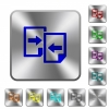 Share documents rounded square steel buttons - Share documents engraved icons on rounded square glossy steel buttons