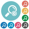 Search engine optimization flat round icons - Search engine optimization flat white icons on round color backgrounds