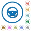 Steering wheel icons with shadows and outlines - Steering wheel flat color vector icons with shadows in round outlines on white background