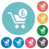 Checkout with Pound cart flat round icons - Checkout with Pound cart flat white icons on round color backgrounds