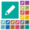 Pencil square flat multi colored icons - Pencil multi colored flat icons on plain square backgrounds. Included white and darker icon variations for hover or active effects.