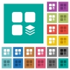 Multiple components square flat multi colored icons - Multiple components multi colored flat icons on plain square backgrounds. Included white and darker icon variations for hover or active effects.