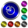 Pie chart icons on round luminous coin-like color steel buttons - Pie chart luminous coin-like round color buttons