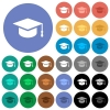 Graduation cap multi colored flat icons on round backgrounds. Included white, light and dark icon variations for hover and active status effects, and bonus shades on black backgounds. - Graduation cap round flat multi colored icons