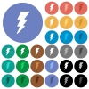 Lightning energy round flat multi colored icons - Lightning energy multi colored flat icons on round backgrounds. Included white, light and dark icon variations for hover and active status effects, and bonus shades on black backgounds.