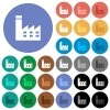 Factory building round flat multi colored icons - Factory building multi colored flat icons on round backgrounds. Included white, light and dark icon variations for hover and active status effects, and bonus shades on black backgounds.