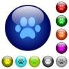 Paw prints color glass buttons - Paw prints icons on round color glass buttons
