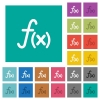 Function square flat multi colored icons - Function multi colored flat icons on plain square backgrounds. Included white and darker icon variations for hover or active effects.