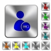 User account processing engraved icons on rounded square glossy steel buttons - User account processing rounded square steel buttons