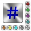 Hash tag rounded square steel buttons - Hash tag engraved icons on rounded square glossy steel buttons