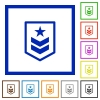 Military rank flat framed icons - Military rank flat color icons in square frames on white background