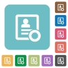 Certified contact rounded square flat icons - Certified contact white flat icons on color rounded square backgrounds