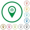 GPS map location snapshot flat icons with outlines - GPS map location snapshot flat color icons in round outlines on white background