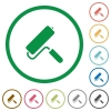 Paint roller flat icons with outlines - Paint roller flat color icons in round outlines on white background