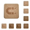Horseshoe magnet wooden buttons - Horseshoe magnet on rounded square carved wooden button styles