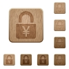Locked Yens wooden buttons - Locked Yens on rounded square carved wooden button styles