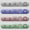 International icons on horizontal menu bars - International icons on rounded horizontal menu bars in different colors and button styles