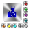 Camera with flash rounded square steel buttons - Camera with flash engraved icons on rounded square glossy steel buttons