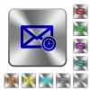 Queued mail engraved icons on rounded square glossy steel buttons - Queued mail rounded square steel buttons