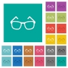 Eyeglasses square flat multi colored icons - Eyeglasses multi colored flat icons on plain square backgrounds. Included white and darker icon variations for hover or active effects.