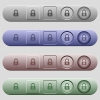 Locked Yens icons on horizontal menu bars - Locked Yens icons on rounded horizontal menu bars in different colors and button styles
