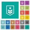 Military rank square flat multi colored icons - Military rank multi colored flat icons on plain square backgrounds. Included white and darker icon variations for hover or active effects.